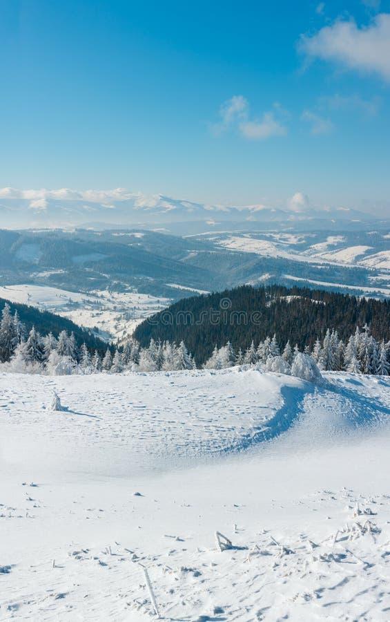 Wintergebirgsschneebedeckte Landschaft lizenzfreies stockfoto