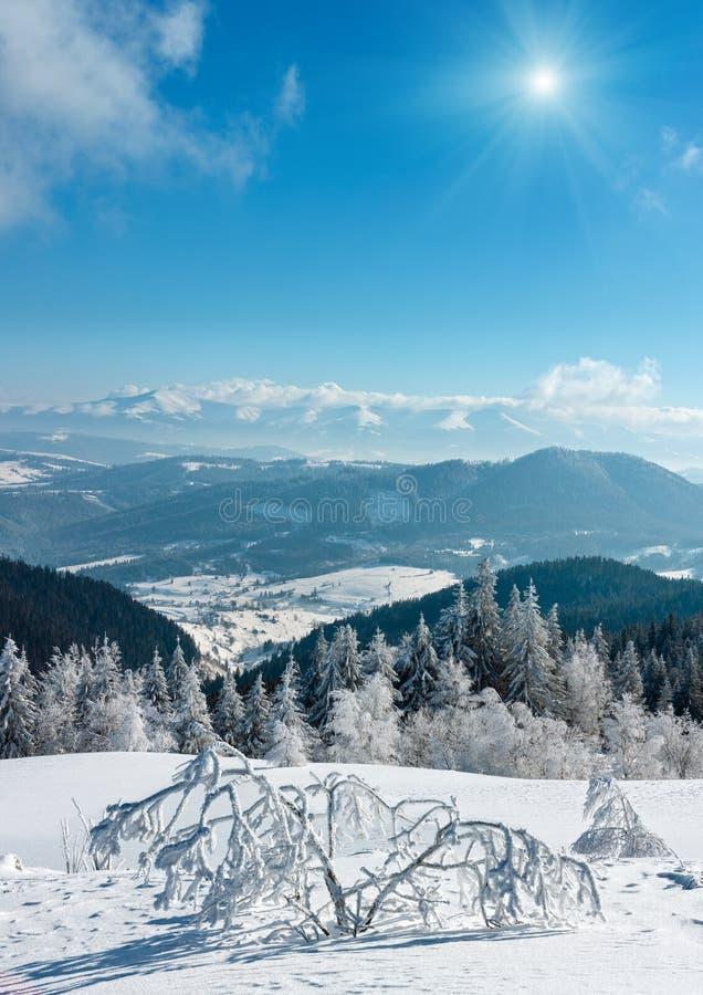 Wintergebirgssunshiny schneebedeckte Landschaft lizenzfreie stockfotos