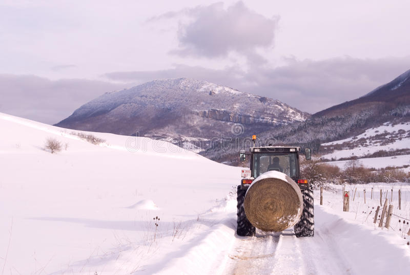 Wintergebirgsszene mit Landwirt auf Traktor. stockbild