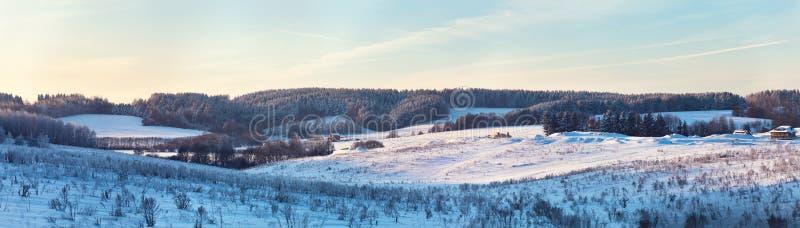 Winterhügel Gefrorene Wiese Frost auf Bäumen lizenzfreie stockfotografie