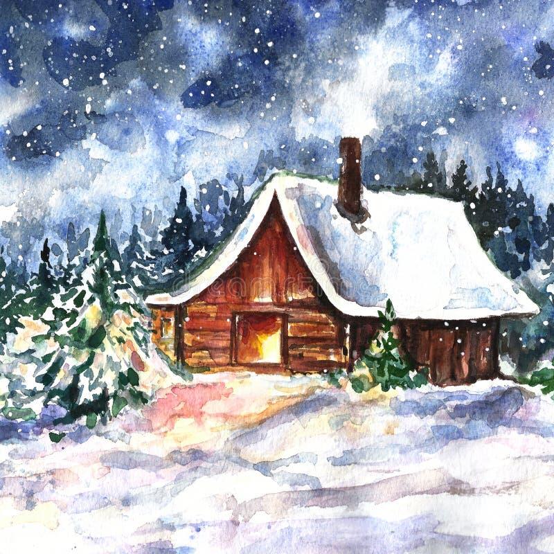 Winterhandgezogene Landschaft mit Haus Ursprüngliche Aquarellmalerei mit hölzerner Kabine im Wald und im fallenden Schnee stock abbildung