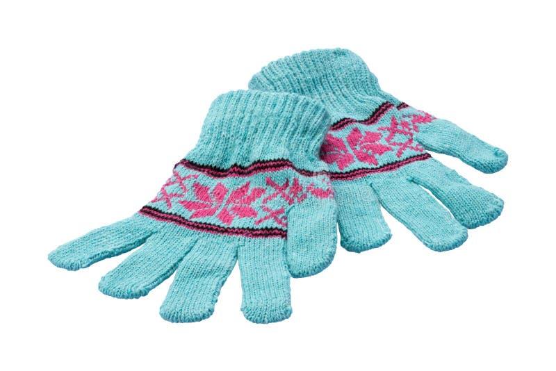 Winterhandschuhe getrennt auf Weiß lizenzfreie stockfotos