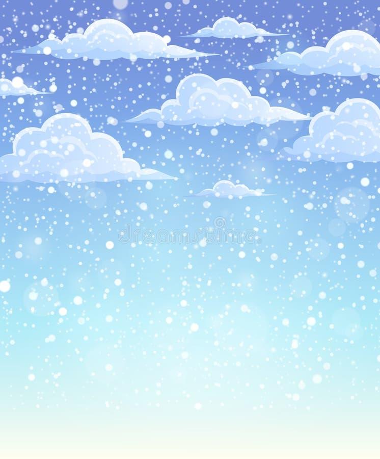 Winterhimmel-Themahintergrund lizenzfreie abbildung