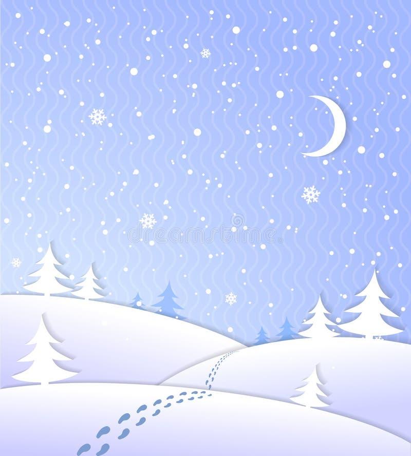 Winterhintergrund mit fallendem Schnee lizenzfreie abbildung