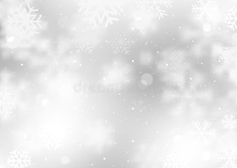 Winterhintergrund mit fallenden Schneeflocken lizenzfreie abbildung