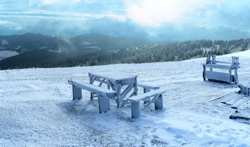 Winterhintergrund mit hölzernen Planken lizenzfreies stockfoto