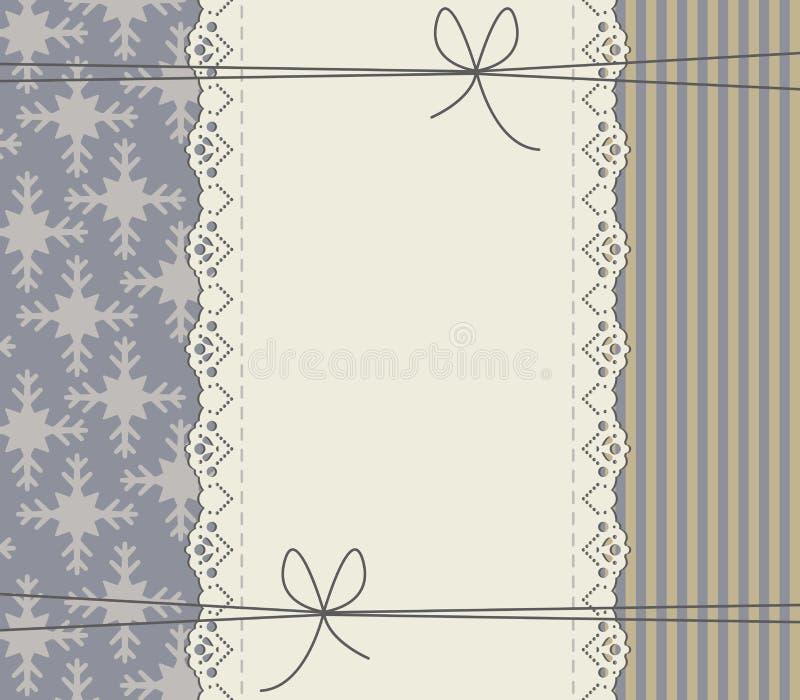 Winterhintergrund mit Rahmen, Bögen, Linien und Schneeflocken stock abbildung