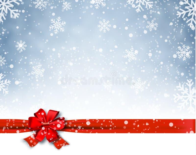 Winterhintergrund mit rotem Bogen stock abbildung