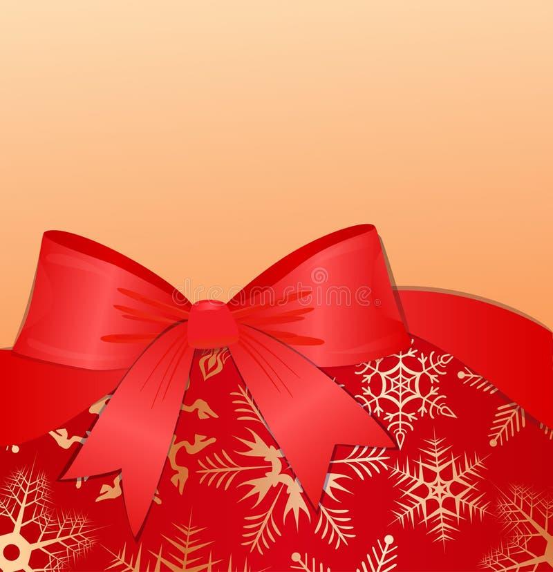 Winterhintergrund mit rotem Bogen. eps10 vektor abbildung