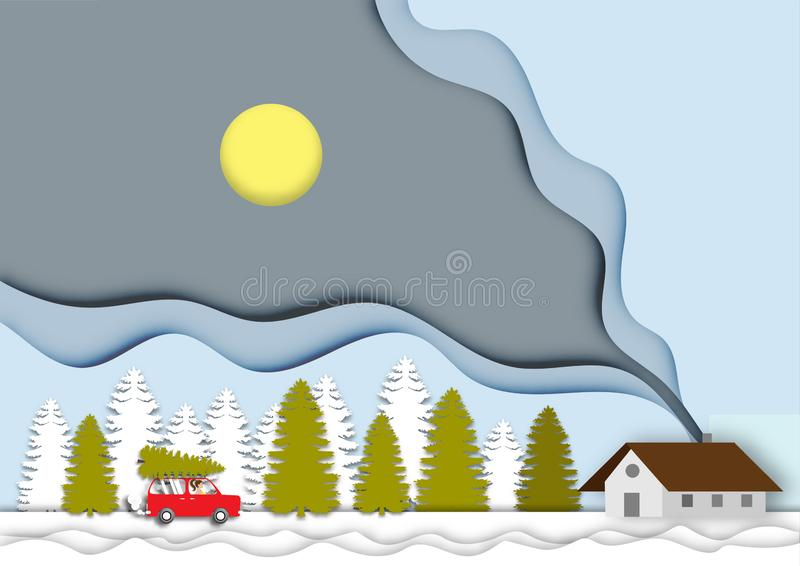 Winterhintergrund mit schönem Hauslandschaftsansichtpapierschnittentwurfsvektor und -illustration lizenzfreie abbildung