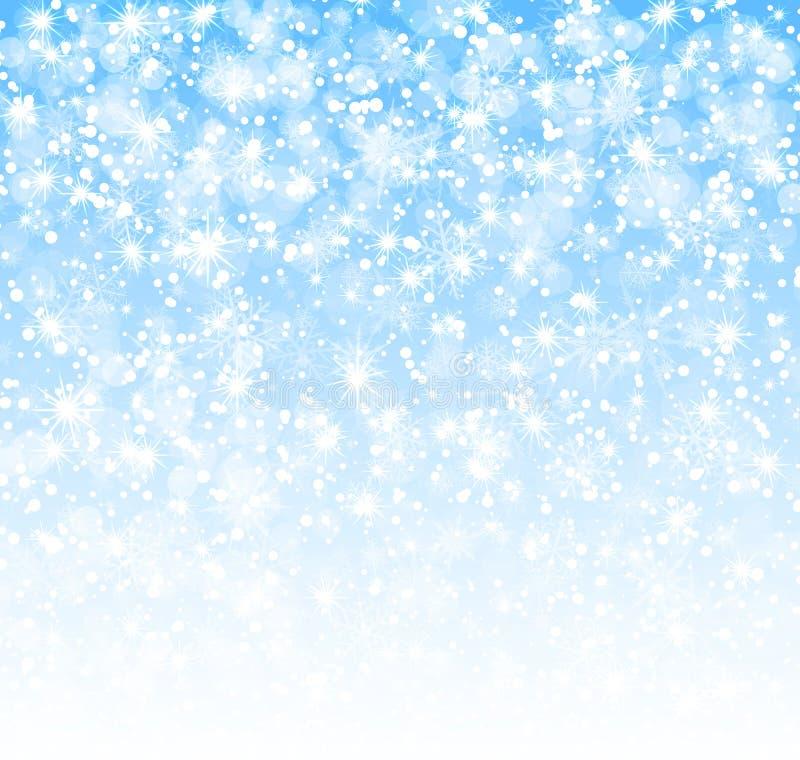 Winterhintergrund mit Schneeflockenvektor stock abbildung