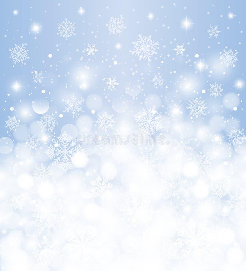 Winterhintergrund verwischt, Weiß u. Blau, mit Schneefällen und Kopienraum, für Weihnachtskarte lizenzfreie abbildung