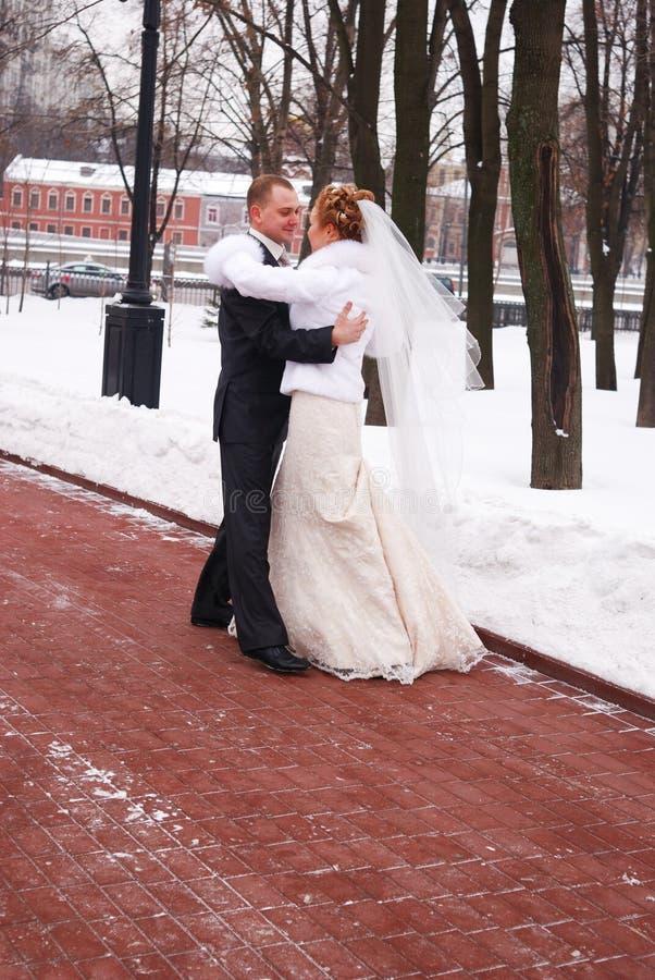 Winterhochzeit lizenzfreie stockfotos