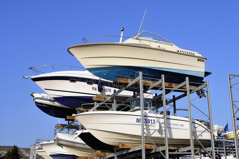 Wintering of the boats stock photos