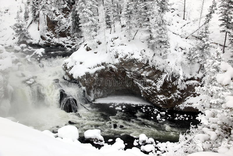 Winterjahreszeit an den Fällen von Yellowstone lizenzfreie stockfotos