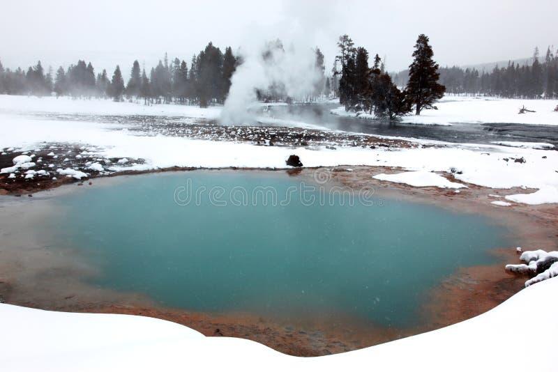 Winterjahreszeit in heißem See stockbild