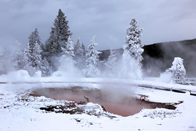 Winterjahreszeit in heißem See von Yellowstone lizenzfreie stockbilder