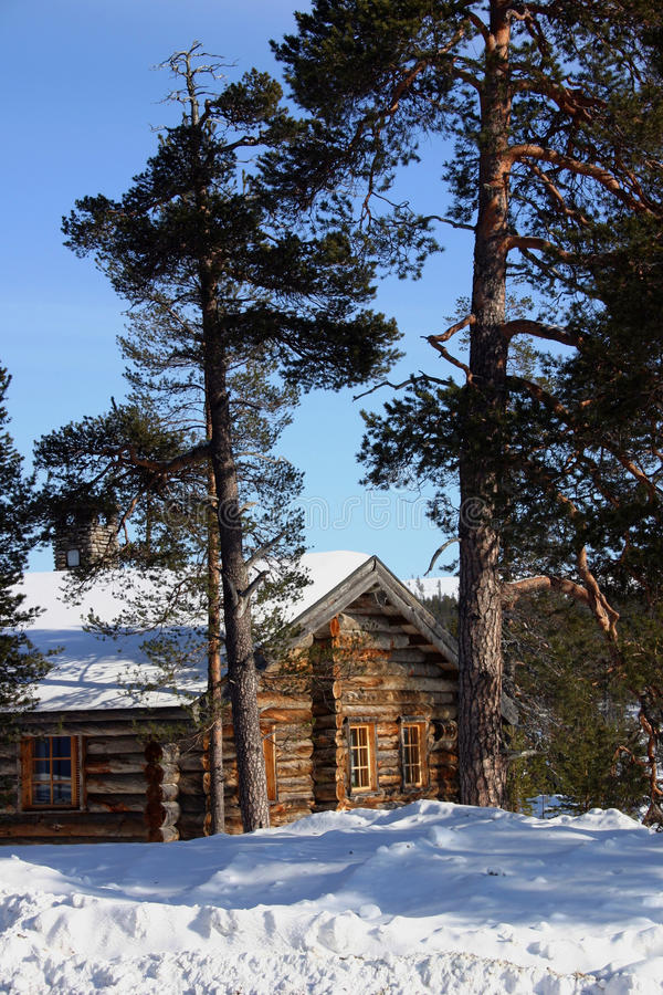 Winterkabine stockfotografie