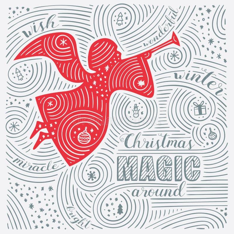 Winterkarte Die Beschriftung - Weihnachtszauber herum Design des neuen Jahr-/Weihnachten Handgeschriebenes Strudel-Muster lizenzfreie abbildung