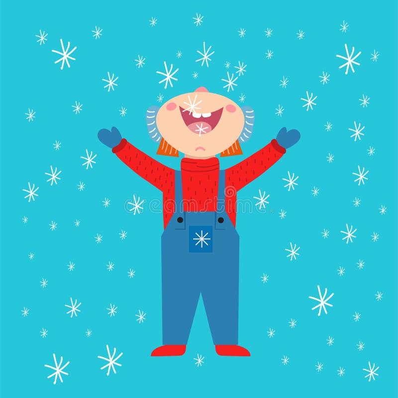 Winterkinder-Dezember-Packpapierweihnachtshintergrund des Schneeflockenkinder-Vektorwetters traditioneller vektor abbildung