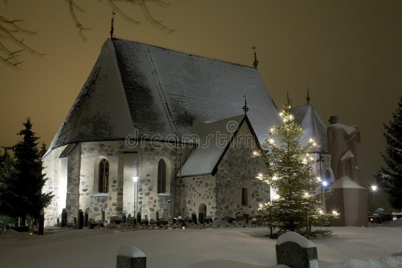 Winterkirche stockbilder