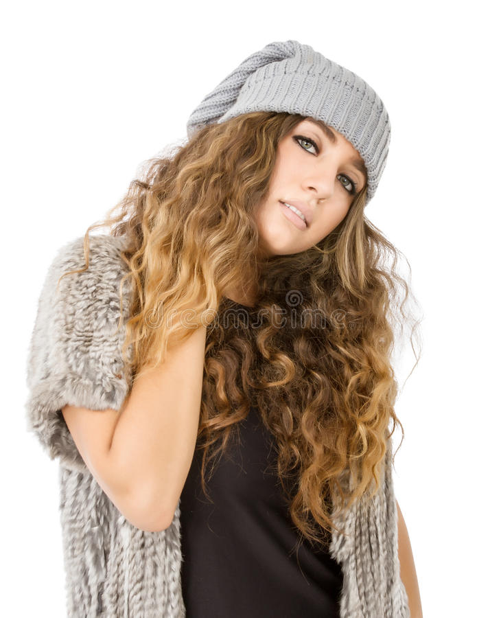 Winterkleid für ein nettes Modell mit Schmerz lizenzfreies stockfoto