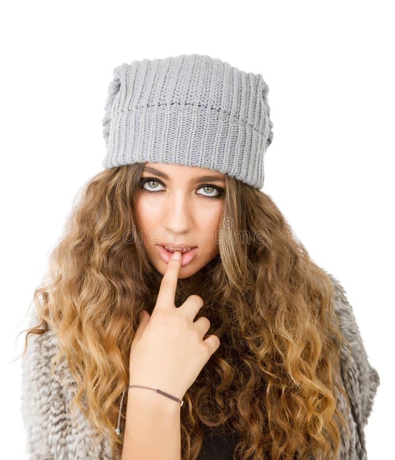 Winterkleid für ein verlockendes Mädchen stockbilder