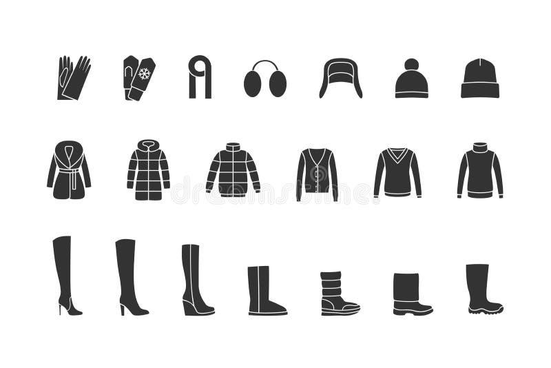 Winterkleidung, Schuhschwarzikonen eingestellt Vektor vektor abbildung