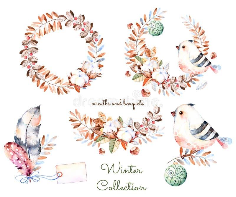 Winterkollektion mit handgemalten Aquarellwinterblumensträußen und -Kränzen stock abbildung