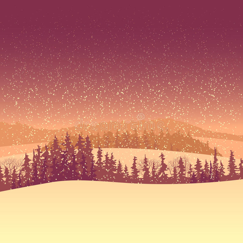 Winterkoniferenwald morgens. vektor abbildung