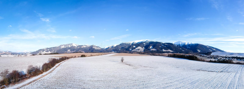 Winterlandpanorama stockfoto