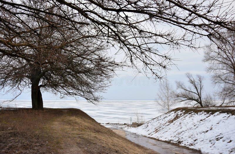 Winterlandschaft auf dem Kiew-Meer stockfotografie