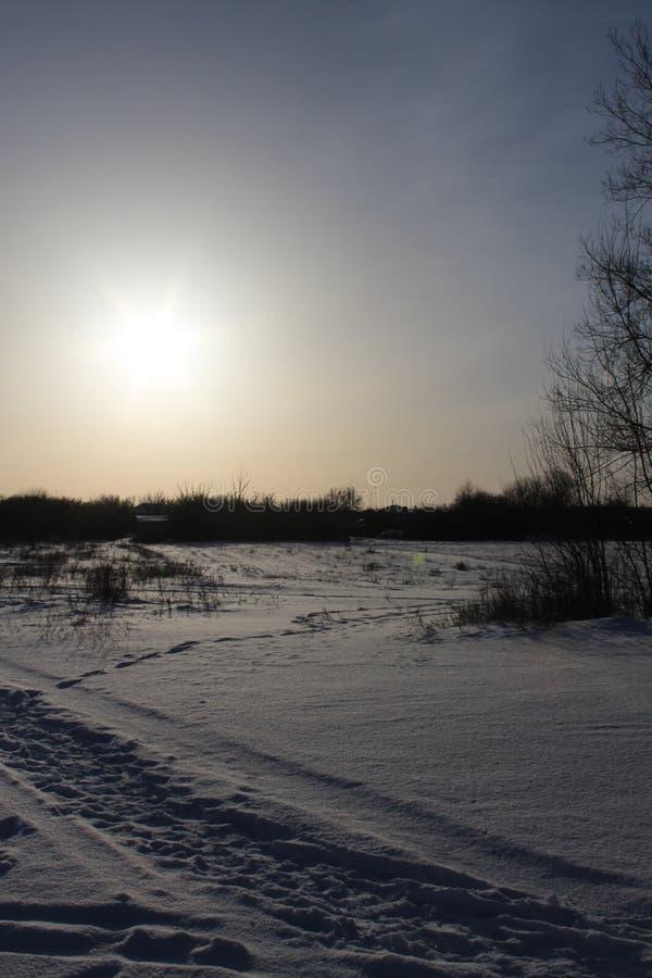 Winterlandschaft bei Sonnenuntergang auf einem Hintergrund von Bäumen stockbilder