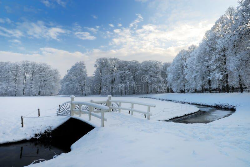Winterlandschaft in den Niederlanden lizenzfreies stockbild