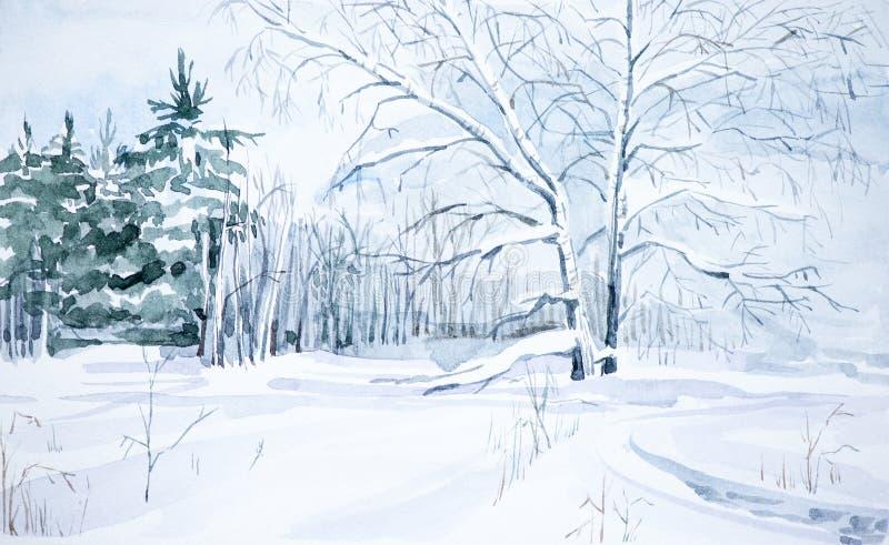 Winterlandschaft des Waldes und des schneebedeckten Feldes Hand gezeichnete Aquarellillustration lizenzfreie abbildung