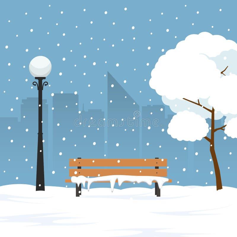 Winterlandschaft im Stadtpark Parkbank und -bäume bedeckt durch Schnee stock abbildung