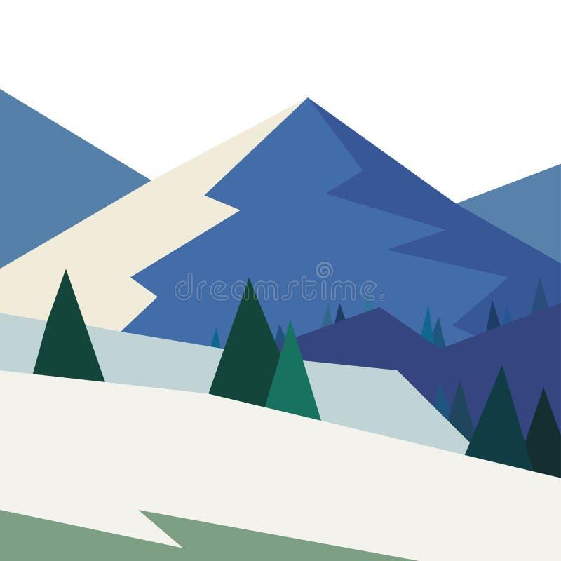 Winterlandschaft mit Bergen im geometrischen Stil vektor abbildung