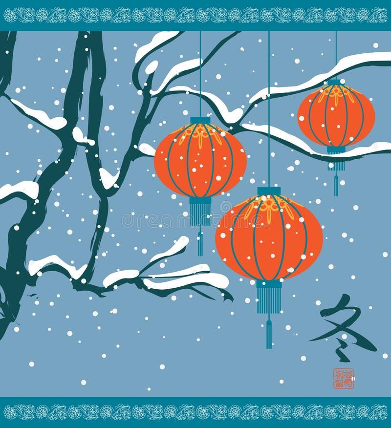 Winterlandschaft mit chinesischen Laternen lizenzfreie abbildung