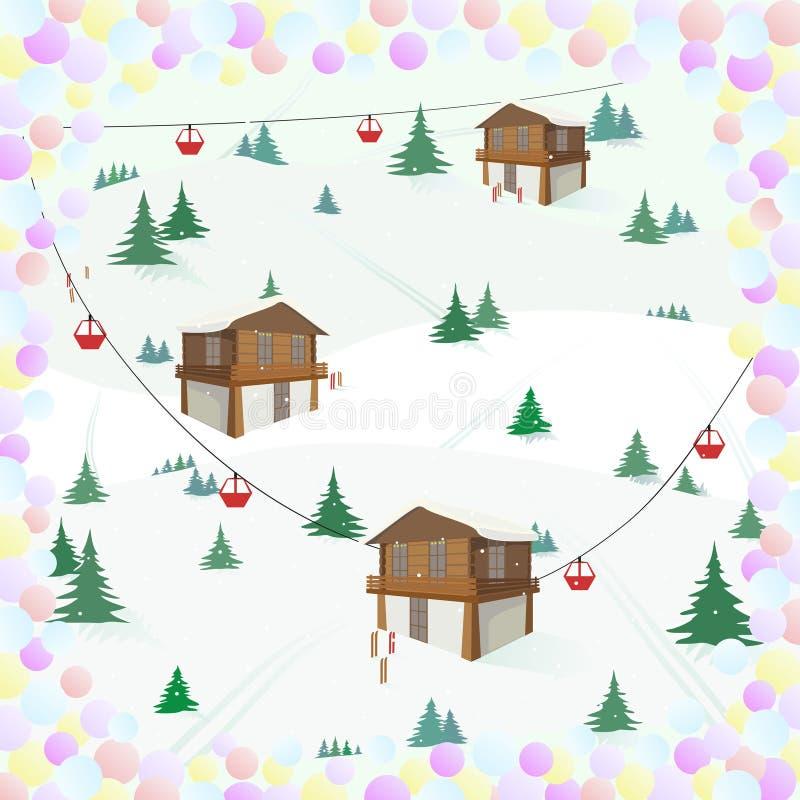 Winterlandschaft mit Gebirgshaus, Bäume, Drahtseilbahn, Skis in einem Rahmen von Konfettis erholung Ski Holidays vektor abbildung