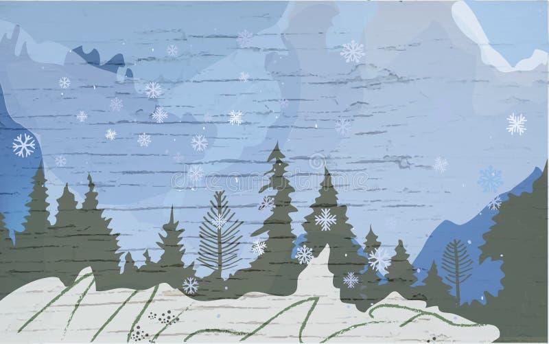 Winterlandschaft mit Hügeln, Bäumen und Schnee für Reisebanner Vector-Illustration stock abbildung