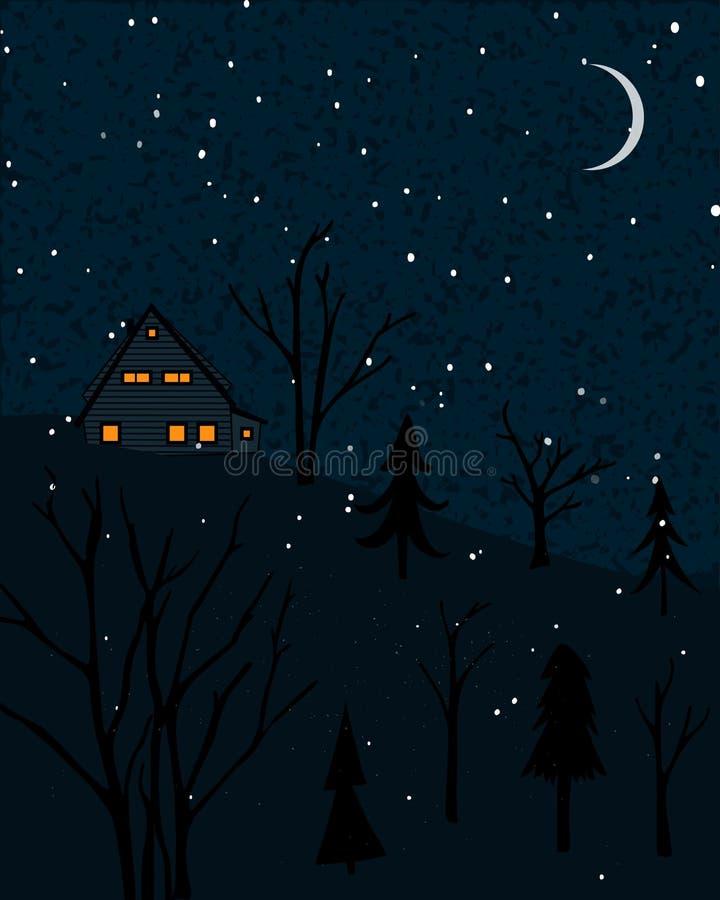 Winterlandschaft mit kleinem Haus an der Waldnachtszene mit fallendem Schnee und einsamen Bäumen vektor abbildung