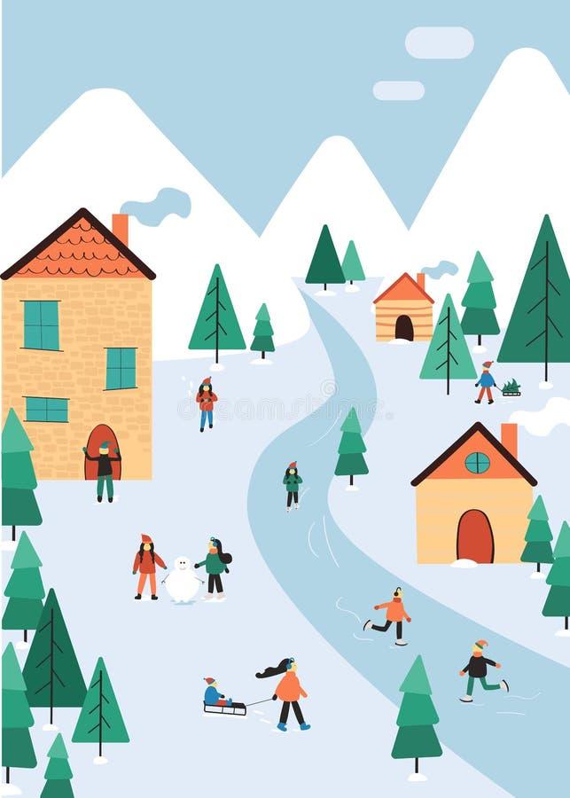 Winterlandschaft mit Leuten und Dekoration: Baum, laufend, Pflugsohle, Schneemann, Geschenk, Flagge eis vektor abbildung