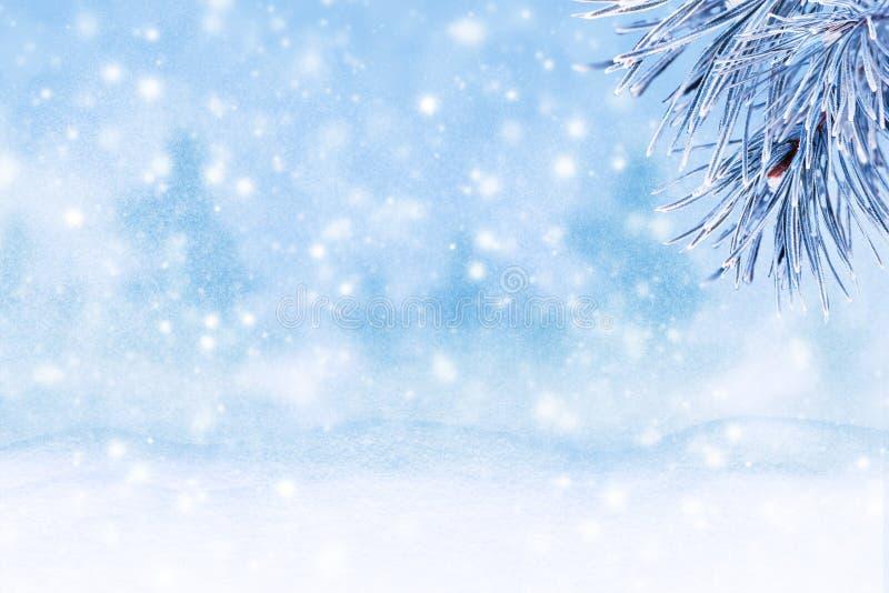 Winterlandschaft mit Schnee Weihnachtshintergrund mit Tannenzweig lizenzfreies stockbild