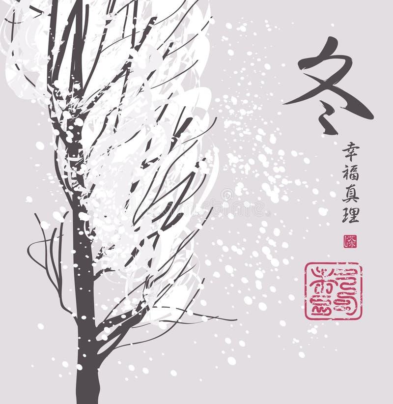 Winterlandschaft mit schneebedecktem Baum in der chinesischen Art lizenzfreie abbildung