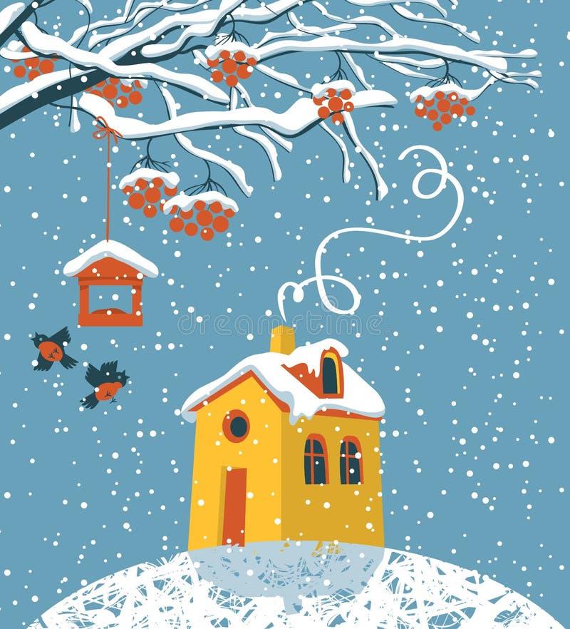 Winterlandschaft mit schneebedecktem Haus und Baum vektor abbildung