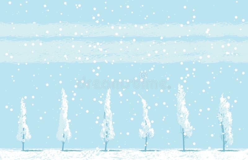 Winterlandschaft mit schneebedeckten Bäumen auf Himmelhintergrund stock abbildung