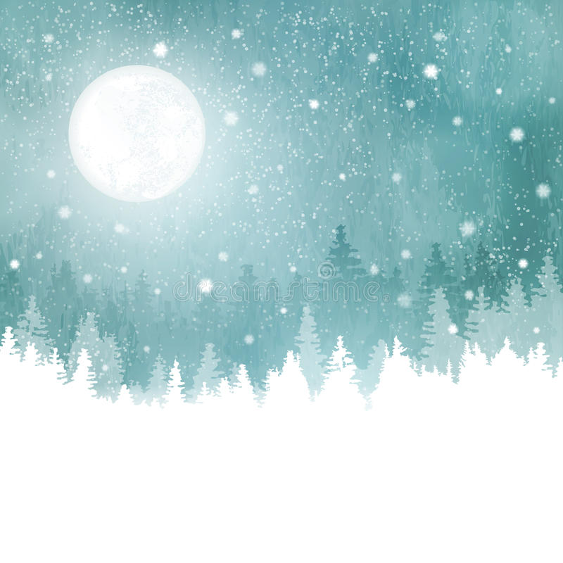Winterlandschaft mit Schneefällen, Tannenbäumen und Vollmond stock abbildung