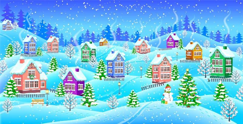 Winterlandschaft mit snowcovered Häusern Schneemann und Weihnachten t vektor abbildung
