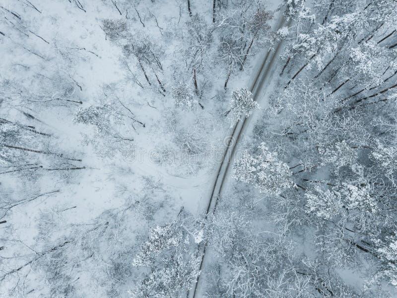 Winterlandschaft mit Straße lizenzfreies stockbild
