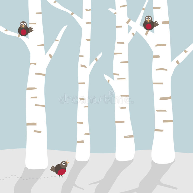 Winterlandschaft mit Vögeln stock abbildung